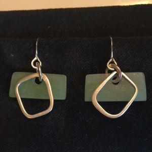 Jade and Brushed Sterling Silver Geometrical Desig
